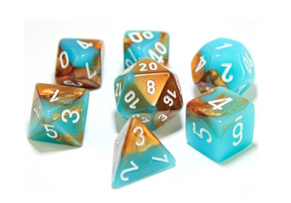 Chessex Lab Dice 3: Gemini Polyhedral Copper-Turquoise/white 7-Die Set [Limited/Allocated]