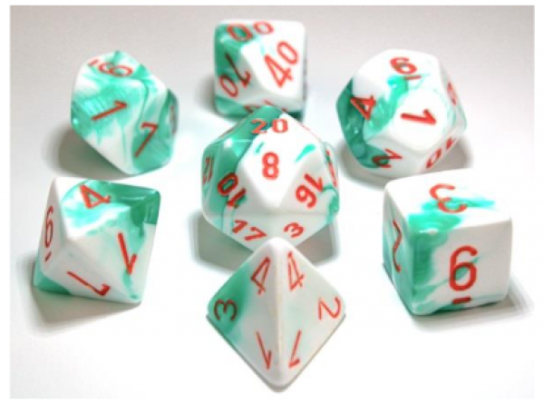 Chessex Lab Dice 3: Gemini Polyhedral Mint Green-White/orange 7-Die Set [Limited/Allocated]