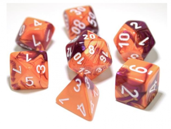 Chessex Lab Dice 3: Gemini Polyhedral Orange-Purple/white 7-Die Set [Limited/Allocated]