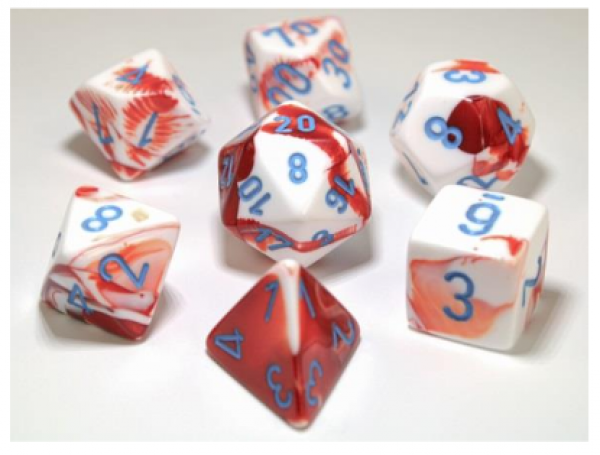 Chessex Lab Dice 3: Gemini Polyhedral Red-White/blue 7-Die Set [Limited/Allocated]