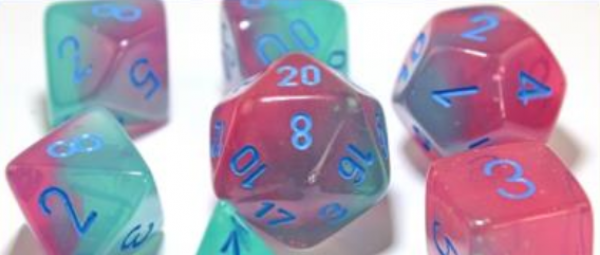 Chessex Lab Dice 3: Gemini Polyhedral Gel Green-Pink/blue 7-Die Set [Limited/Allocated]