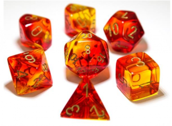 Chessex Lab Dice 3: Gemini Polyhedral Red-Yellow/gold 7-Die Set [Limited/Allocated]