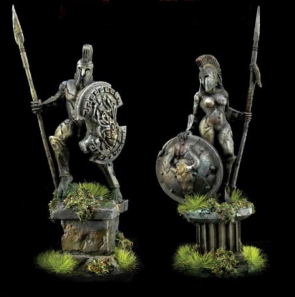 Reaper Bones Black: Amazon and Spartan Living Statues (Bronze)