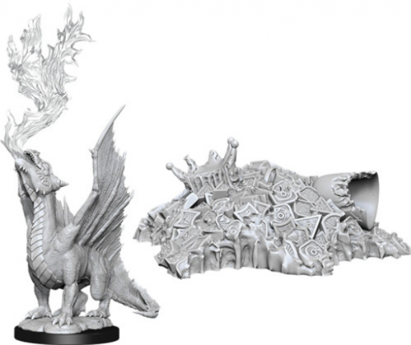 D&D Nolzurs Marvelous Unpainted Minis: Wave 11 - Gold Dragon Wyrmling & Small Treasure Pile