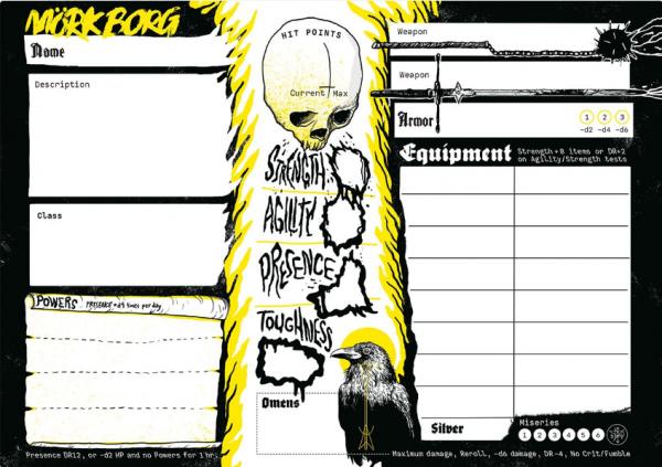 MÖRK BORG RPG: Character Sheet Pad