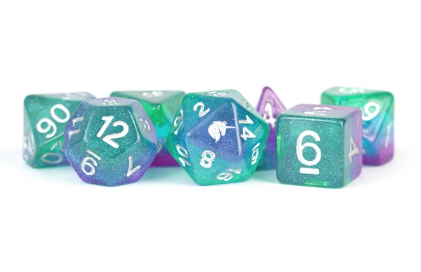 Metallic Dice: Unicorn RESIN Polyhedral Dice Set - Aurora (7)