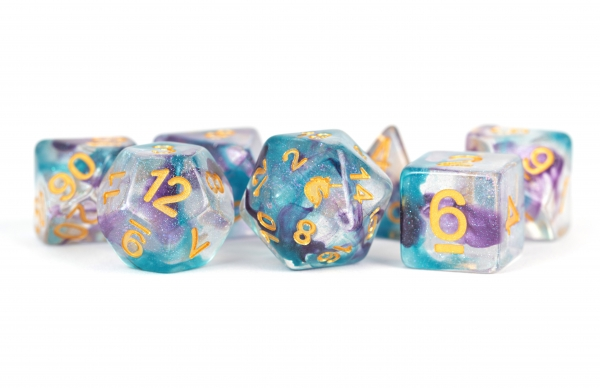 Metallic Dice: Unicorn RESIN Polyhedral Dice Set - Fancy Fae (7)