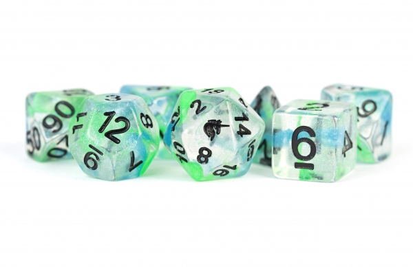 Metallic Dice: Unicorn RESIN Polyhedral Dice Set - Sea Kelp (7)