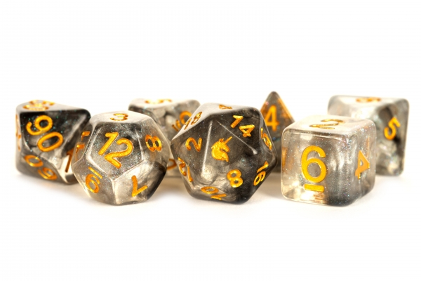 Metallic Dice: Unicorn RESIN Polyhedral Dice Set - Rogue Rage (7)