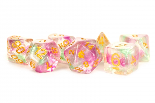 Metallic Dice: Unicorn RESIN Polyhedral Dice Set - Celestial Blossom (7)