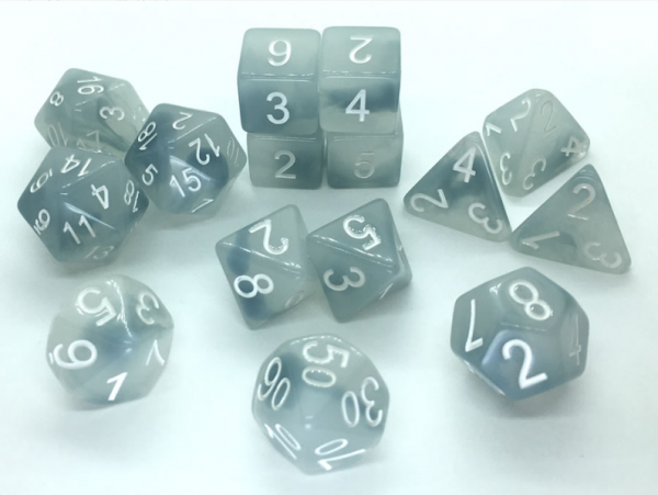 Polyhedral Dice Set: Set of 15 Polyhedral Dice - Ghostly Grudge