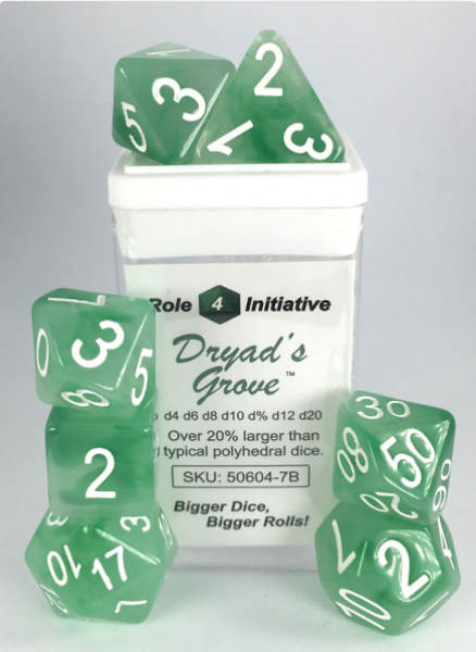 Polyhedral Dice Set: Set of 7 Polyhedral Dice - Dryad's Grove