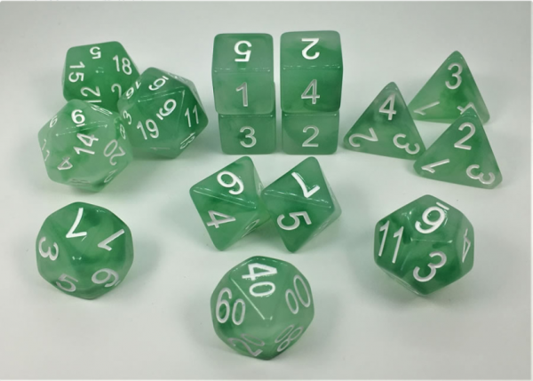 Polyhedral Dice Set: Set of 15 Polyhedral Dice - Dryad's Grove