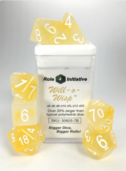 Polyhedral Dice Set: Set of 7 Polyhedral Dice - Will-o-Wisp