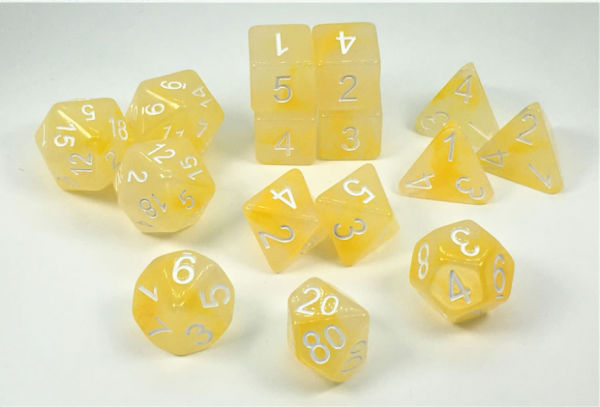 Polyhedral Dice Set: Set of 15 Polyhedral Dice - Will-o-Wisp