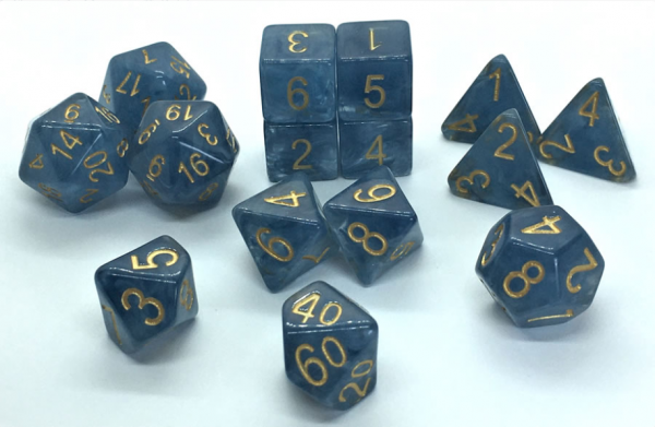 Polyhedral Dice Set: Set of 15 Polyhedral Dice - Blue Jade Shoes