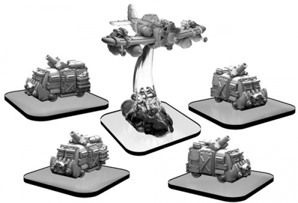 Monsterpocalypse:  Scavenger Vans and Scrapper – Monsterpocalypse Green Fury Unit (metal)