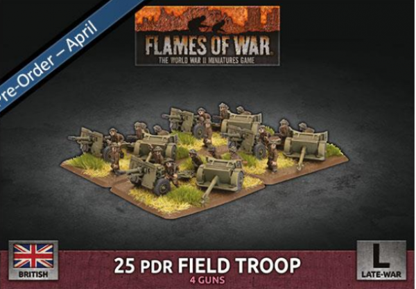Flames Of War (WWII): (British) 25 pdr Field Troop (Plastic)