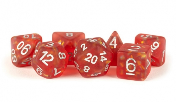 Polyhedral Dice Set: (Resin) Icy Opal Red w/ Silver Numbers (7 die set)