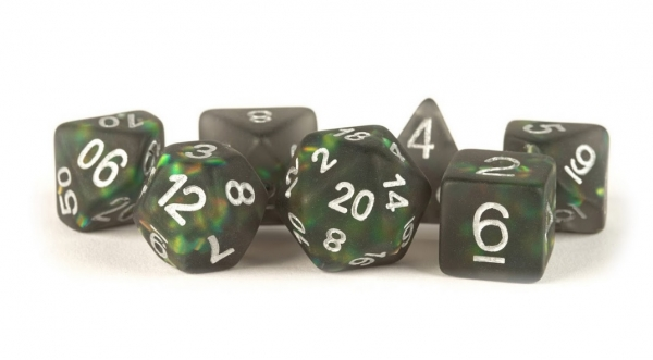 Polyhedral Dice Set: (Resin) Icy Opal Black w/ Silver Numbers (7 die set)