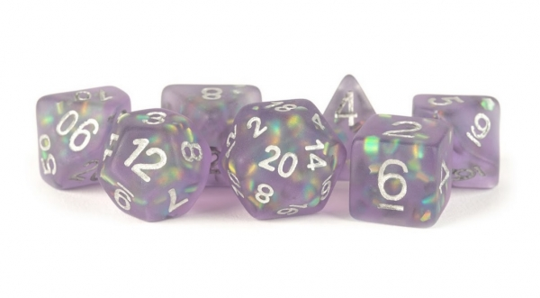 Polyhedral Dice Set: (Resin) Icy Opal Purple w/ Silver Numbers (7 die set)