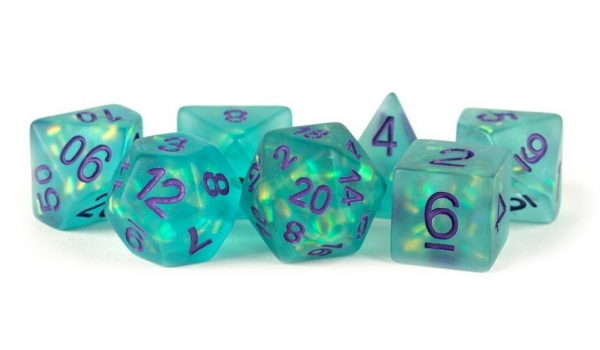 Polyhedral Dice Set: (Resin) Icy Opal Teal w/ Purple Numbers (7 die set)
