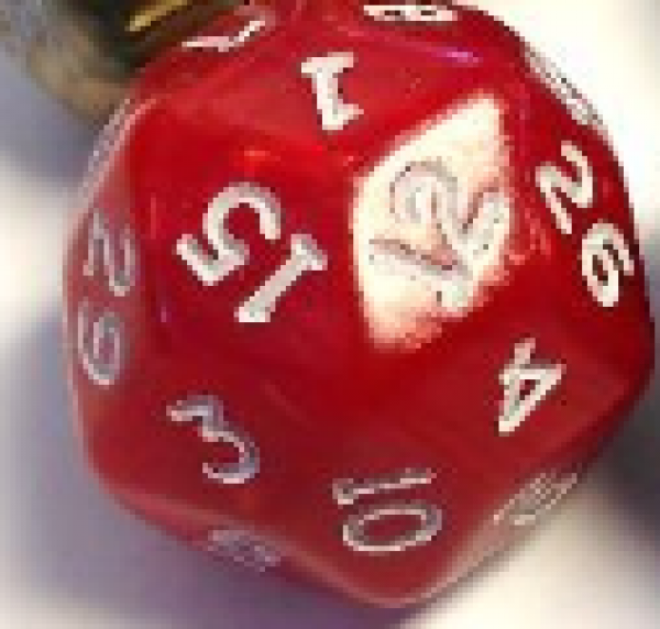 Pearlescent Polyhedral d30: Red w/ White Numbering (1)
