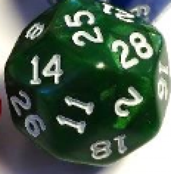 Pearlescent Polyhedral d30: Green w/ White Numbering (1)