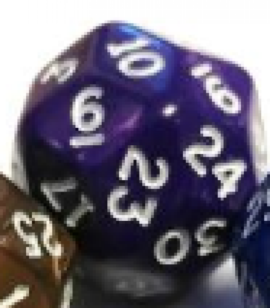 Pearlescent Polyhedral d30: Purple w/ White Numbering (1)