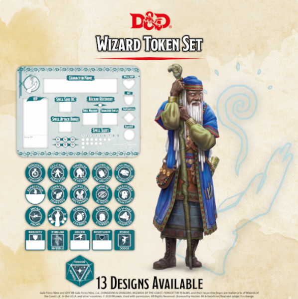 D&D 5th Edition: Player Token Set - Wizard (21 tokens)