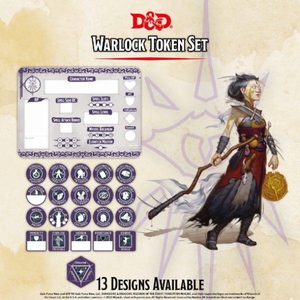 D&D 5th Edition: Player Token Set - Warlock (21 tokens)