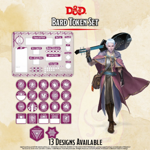 D&D 5th Edition: Player Token Set - Bard (22 tokens)