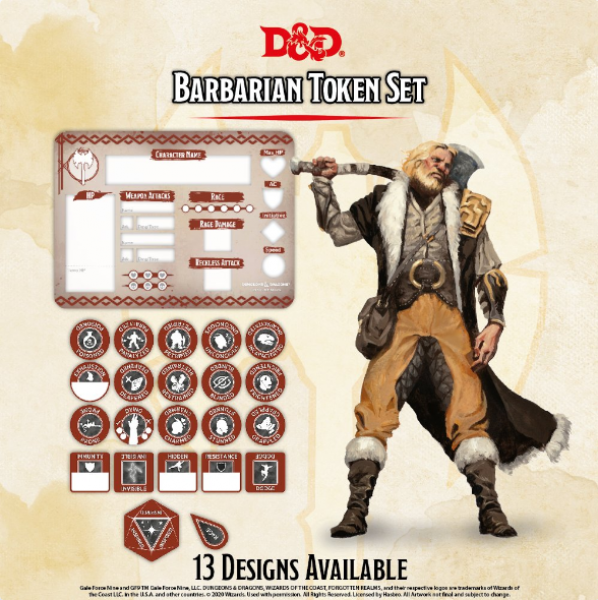 D&D 5th Edition: Player Token Set - Barbarian (22 tokens)
