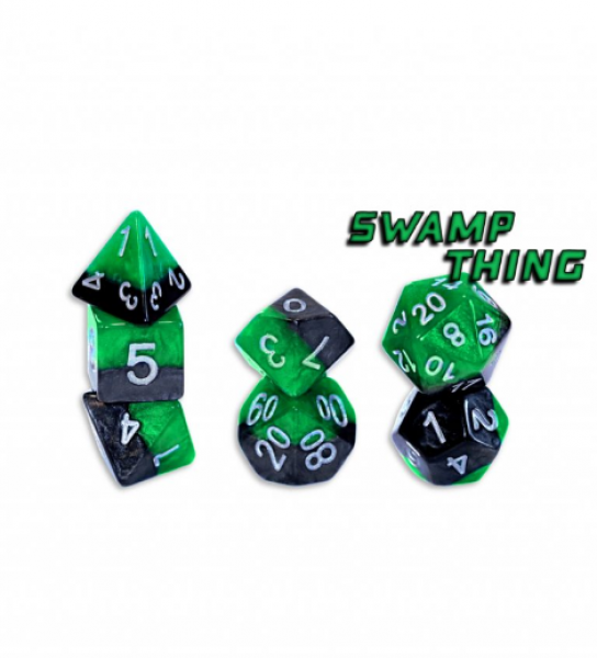 Halfsies Dice: Swamp Thing (7 Dice Polyhedral Set)
