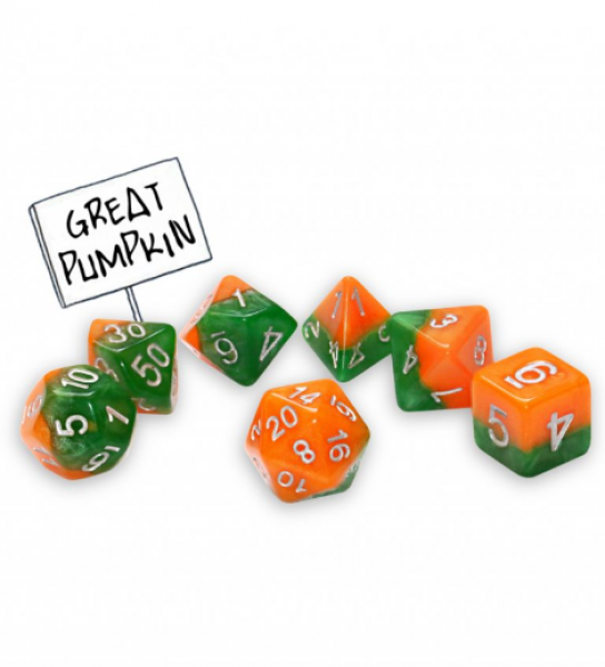 Halfsies Dice: Great Pumpkin (7 die set)