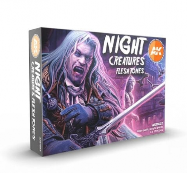 AK-Interactive: 3rd Gen Acrylics - Night Creatures Flesh Tones Acrylic Paint Set (Box of 6 Paints)