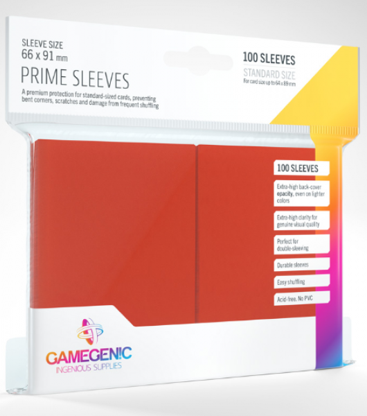 Gamegenic: Standard Size Prime Sleeves - Red (100)
