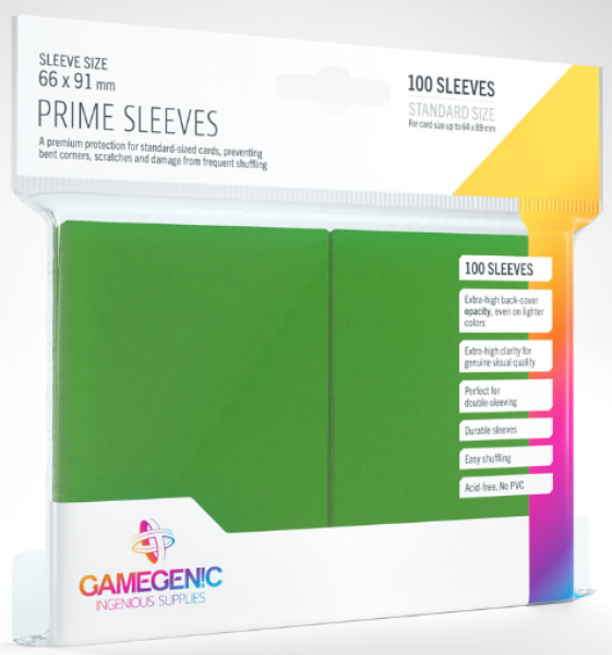 Gamegenic: Standard Size Prime Sleeves - Green (100)
