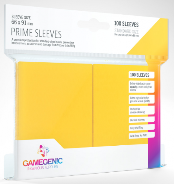 Gamegenic: Standard Size Prime Sleeves - Yellow (100)