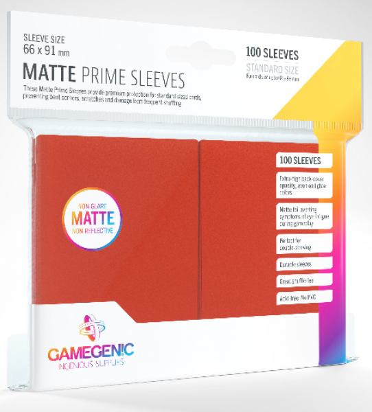 Gamegenic: Standard Size Matte Prime Sleeves - Red (100)