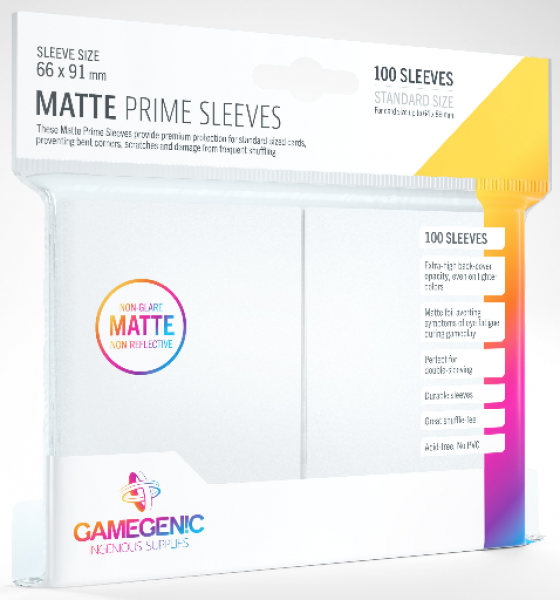Gamegenic: Standard Size Matte Prime Sleeves - White (100)
