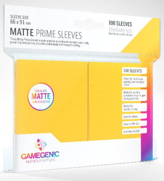 Gamegenic: Standard Size Matte Prime Sleeves - Yellow (100)