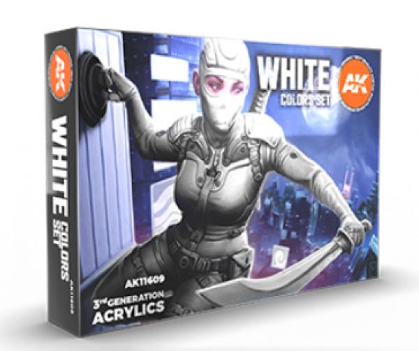 AK-Interactive: 3rd Gen Acrylics - White Colors Acrylic Paint Set (Box of 6 Paints)