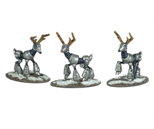 Bombshell Miniatures: Sidekicks - Robot Reindeer Pack (3)