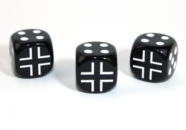 Chessex Choice Dice: Axis and Allies German d6 - Opaque Black/White (1)