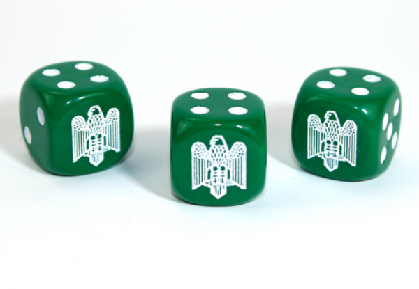Chessex Choice Dice: Axis and Allies Italian d6 - Opaque Green/White (1)