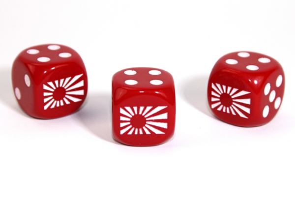 Chessex Choice Dice: Axis and Allies Japan d6 - Opaque Red/White (1)