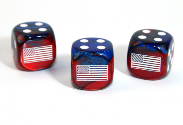Chessex Choice Dice: Axis and Allies United States d6 - Gemini Blue-Red/White (1)