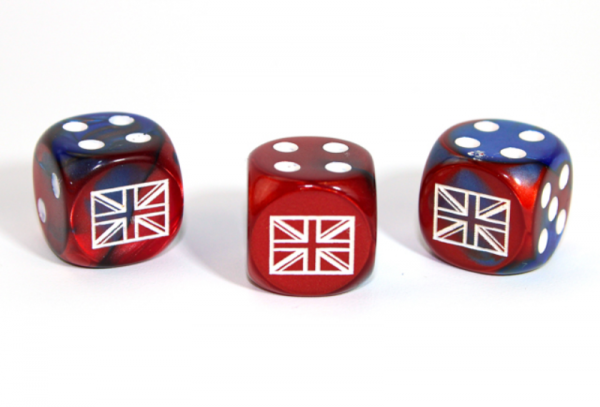 Chessex Choice Dice: Axis and Allies United Kingdom d6 - Gemini Blue-Red/White (1)
