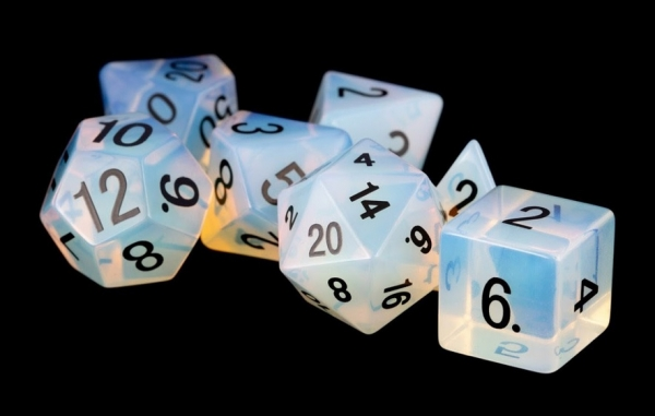 Poly Dice Set: 16mm Stone Poly Dice Set - Opalite